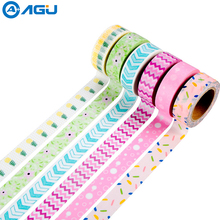 AAGU Box Package New Arrival Washi Tape Set Various Patterns Scrapbooking MaskingTape set Decorative Paper Tape Set For DIY(China)
