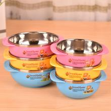 High Quality Baby Infants feeding Bowl Steelss Steel Bowl Kids With Two Handle Cartoon heat insulation bowl Tableware F15