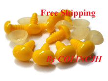 50pcs/lot 4.5mm/6.5mm/8mm/10mm/12mm/13mm Safety Noses For Teddy Bear Doll Yellow Color Come With Washers
