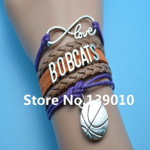 Infinity Love Bobcats Basketball Charm Popular Bracelets Brown Orange Purple Leather Rope Customize Men East Team Sports Bangles