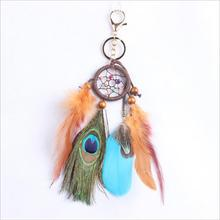 Brown peacock feather dream catcher with keychain small hanging pendant decoration for bag Car handmade craft feather pendant