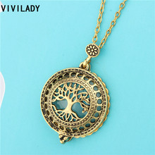 VIVILADY Vintage Magnet Magnifier Lockets Charm Hollow Life Tree Flower Pendant Long Necklaces Women Mother Costume Jewelry Gift