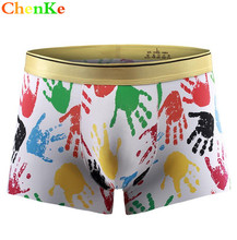 ChenKe New Cotton Ice Silk Underwear Men Boxer Cartoon 3D Panties U Pouch Male Underpants Sheer Men Boxer Shorts Funny Knickers