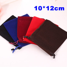 50Pcs/lot New Arrival Velvet Black Wedding&Festival Gift Bags Pouches Fit Jewelry Decoration&Packing 10*12cm(China)