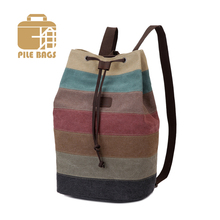 Fashion Patchwork Bag Shopping Tote Retro Women Brand Backpack Men's Bucket Style Canvas Backpack Bag Female Male Men Students