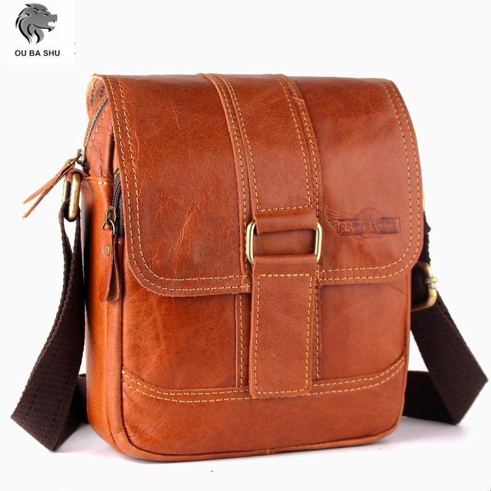 OU BA SHU Genuine Leather Men Bag Cowhide Shoulder Cross body Bag Men Messenger Bag Vintage Small Mens Leather Bag Casual Male <br><br>Aliexpress