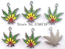 Hot Sale 10 pcs Cartoon Maple Leaf  Metal Charms DIY Jewelry Making Making Mobile Phone Accessories For Best Gift D-125