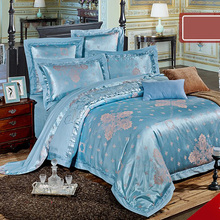 Blue jacauard tribute silk 6pcs 4pcs bedding set AB side duvet cover with embroidery Europe cotton sheet ruffles pillowcase 6001(China)