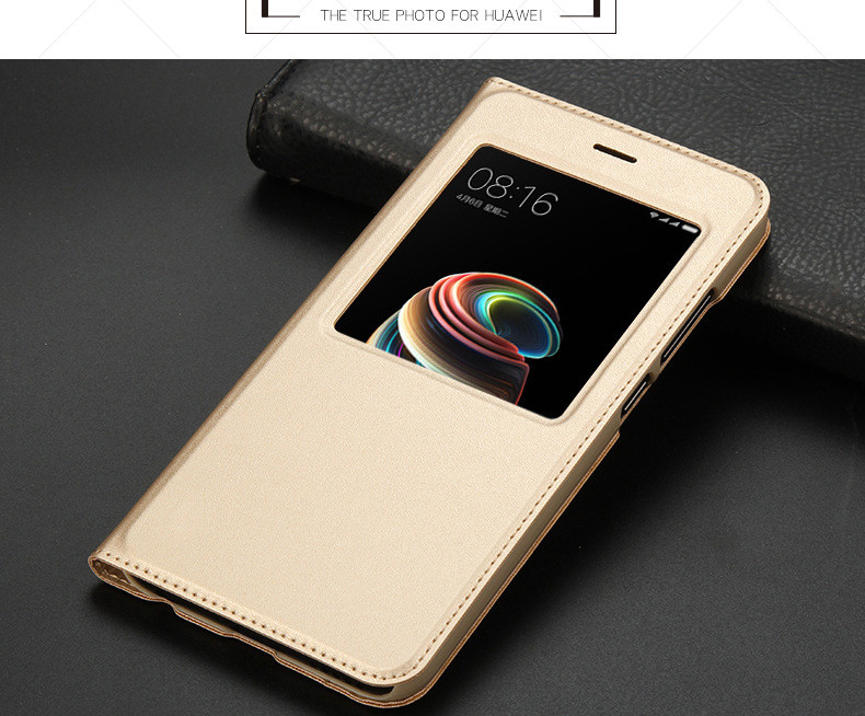 view quick answer open window leather flip case for xiaomi mi A1 mi 5x   09