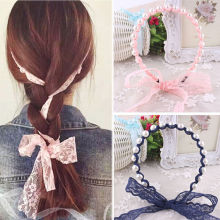 Fashion Women Lace Headbands Hair Accessories Imitated Pearl Scrunchy Hair Bows Elastic Hair Bands Flower Hairbands(China)