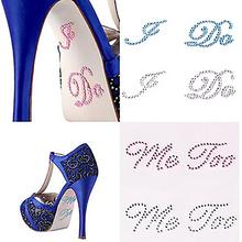 2017 New Wedding Decoration  I DO and ME TOO Clear Rhinestones Decoration Wedding Decal Wedding Shoe stickers