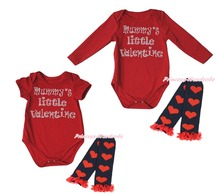 Red Baby One Piece Mummy Little Valentine Girls Bodysuit Leg Warmer Set NB-18M(Hong Kong)