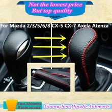 High Quality Leather Black Gear Sets Shift collars Knob handbrake Sticks frame For Mazda 2/3/5/6/8 CX-5 CX-7 Axela Atenza etc...
