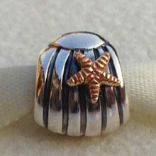 925 Sterling Silver Seashell Bead Fits European Style Jewelry Charm Bracelets & Necklaces