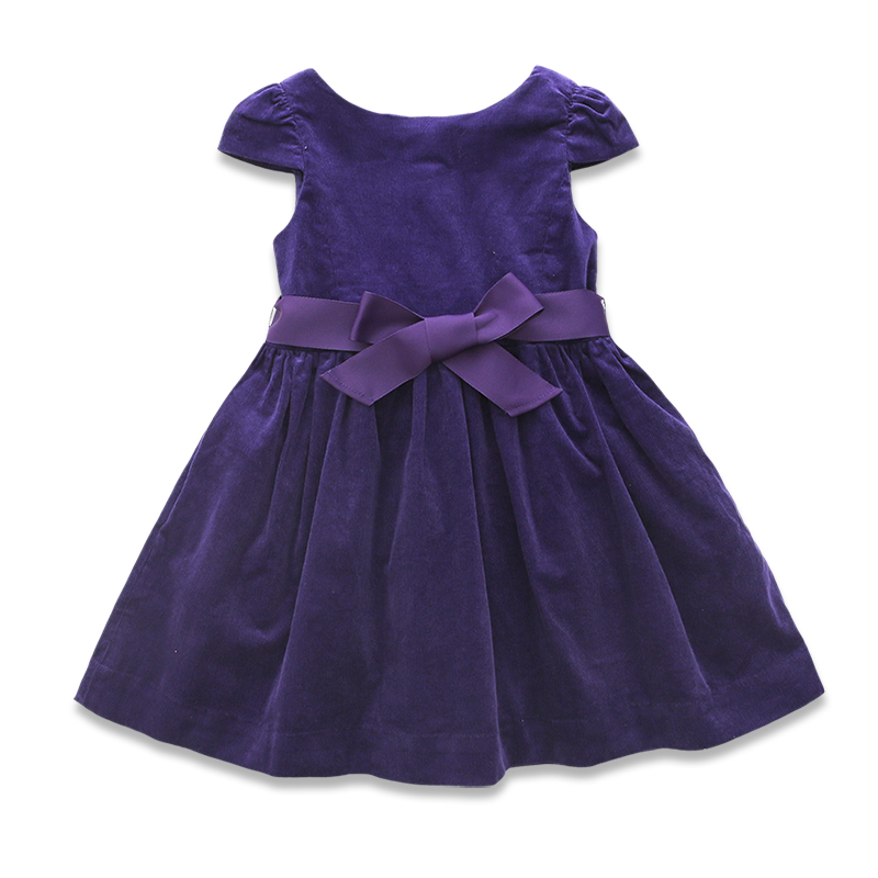 United States in the spring of 17 new baby girls lovely bowknot purple dress thick corduroy<br>