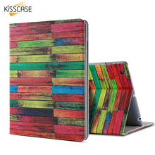 KISSCASE Leather Flip Cases For i Pad mini 1 2 3 i Pad 2 3 4 Smart Flip Shockproof Bag For i Pad Air 1 2 Stand Wooden Skin Case(China)
