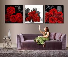 3 Piece Modern Wall Art Painting Red roses Flower Home Decorative Picture Paint on Canvas Modular Prints (Unframed)(China)