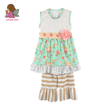 Conice Factory Direct Sale New Girls Clothing Round Neck With Flora Sleeveless Striped Pant Sweet Kids Outfits Clothing Set S119(China)