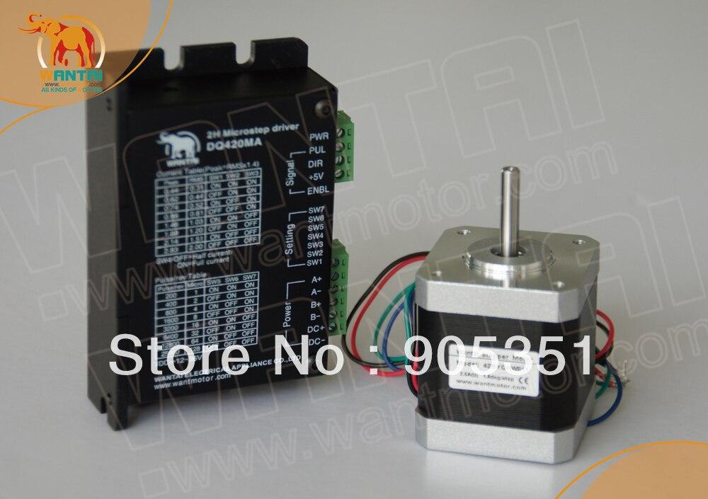 Hot sale - Wantai Nema 17 Stepper Motor 42BYGHW208 2800g.cm+Driver DQ420MA 1.7A 36V 128Micro CNC Router Plasma Laser Engraving<br><br>Aliexpress