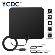 YCDC Dual Booster 1080P Antena Digital HDTV Antenna 80 Miles Range Indoor Flat TV Antenna with USB Powered Signal Amplifier(China)