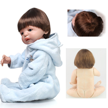 New 22 Inch Full silicone reborn boy dolls blues eyes best reborn babies bonecas toys for kids bebe alive reborn bonecas(China)