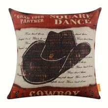 LINKWELL Pillow Case Burlap Cushion Cover 18x18 inch Retro Square Dance West Cowboy Hat Sunset Rider American Style USA Man Cave
