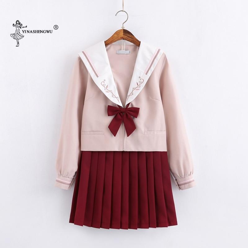 Long-sleeved JK Uniforms Japanese Sailor Suit School Uniform Cosplay Student Jk Academy Clothing Wine Red Skirt Pleated Skirt