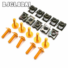 10PCS 6M Universal Aluminum Motorcycle Fairing Body Spring Bolts Nuts Spire Speed Fastener Clips Screw For Honda Yamaha Kawasaki