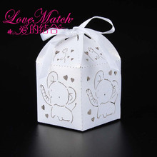 50Pcs Baby Elephant Laser Cut Party Favor Box,Kids Birthday Party Decorations,Baby Shower Party Supplies Gift Box for Christmas(China)
