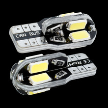 10PCS Canbus T10 8smd 5630 5730 LED car Light Canbus NO OBC ERROR T10 W5W 194 8 SMD Led Bulb white 12V