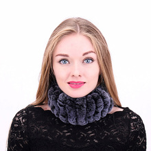 Winter Scarf Real Rabbit Fur Scarf Women Winter Knitted Fur Headband Ring Collar Natural Genuine Scarves Style For Ladies mz022(China)