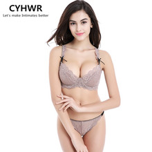 CYHWR 2016 Hot Sale women underwear Ultra-thin Transparent Bra Set Lace Bra and panties(China)