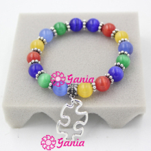 New Arrival Puzzle Autism Awareness Bracelet 10mm Opal Beaded Bracelet with Puzzle Autism Charm Bracelet Jewelry Pulser