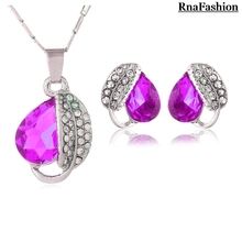 2014 Free Shipping Hotselling factory Wholesales Crystal Leaf Pendant Jewelry Sets necklace earrings