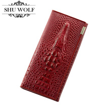 New Women Split Leather Wallet Fashion 3D Alligator Pattern Brand Design Casual Purse Women's Wallets Coin Department # 397