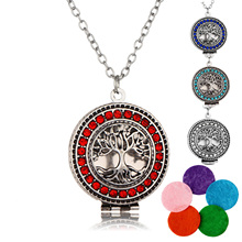 Aromatherapy Necklace Silver Color  with Tree of Life Essential Oils Diffuser Loket Necklace for Women Party