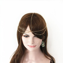 Fashion Style Metal Chain Beads Multilayer Chain Hairband Wedding Headband Hair Accessories Jewelry For Women Headwear(China)