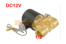 "Free Shipping 2017 New Brass 12V DC 1/2"" Electric Solenoid Valve Water Air Fuels Gas Normal Closed (SMALL)(China)"