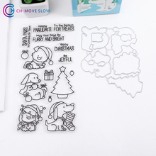 CH Christmas dog Metal Cutting Dies Stencils for DIY Scrapbooking/photo album Decorative Embossing DIY Paper Cards Making(China)