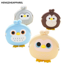 cartoon wallets new three - dimensional penguin owl bunny silicone purse creative key cases minie cute children girls lady bags(China)