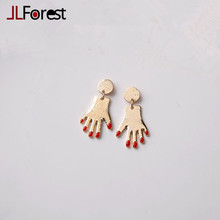 JLForest 2017 Unique Gold Hands Red Fingernail Stud Earrings For Women Special Exaggerated Earrings Punk Statement Jewelry Gifts