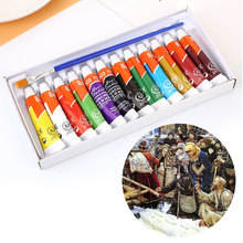 1 Set 12 Colors 6ML Draw Gouache Paint Tube With Brush Art Supplies Professional(China)