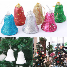 6pcs/Pack 2016 Hot Christmas Tree Hanging Snow Colorful Bells Party Decoration Ornaments Xmas Decor Gift