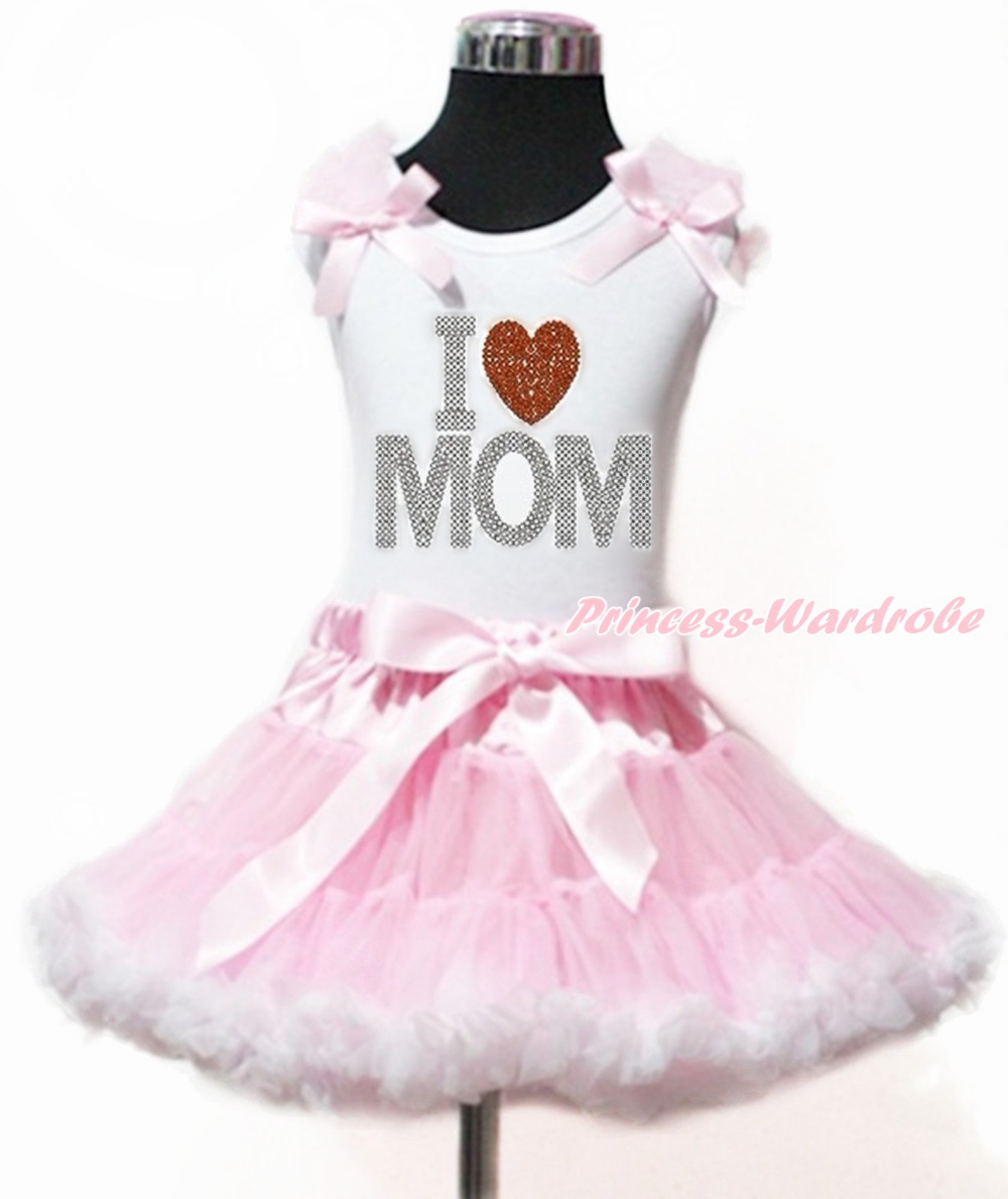 Mommys day Mothers Day Rhinestone Love Heart White Top Pink White Girl Pettiskirt 1-8Year MAPSA0014<br>