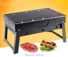 Outdoor cooking BBQ Foldable Portable bbq grill Outdoor Barbecue wood bbq 35*27*20cm with BBQ Barbecues tools set charcoal oven