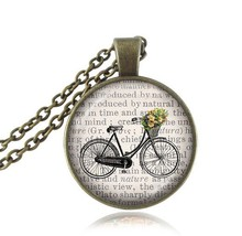 2017 New Unisex Glass Cabochon Art Picture Bicycle Pendant Necklace Vintage Bike Necklaces For Women Classic JewelryHZ1