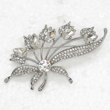 12pcs/lot Wholesale Fashion Brooch Rhinestone Swing Flower Pin brooches Bridal Wedding party Jewelry gift C102301(China)