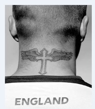 Temporary tattoos neck back body cross wings men makeup fake spray transfer sexy tattoo stickers waterproof Beckham style