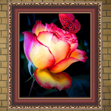 5D DIY Diamond painting by numbers Butterflies Flower Cross Stitch Embroidery rhinestones pink rose picture Photos wedding decor(China)