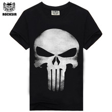 2017 heavy metal skeleton men's t-shirt rock punisher skull black cotton hip hop tops tee street casual music t-shirt for men